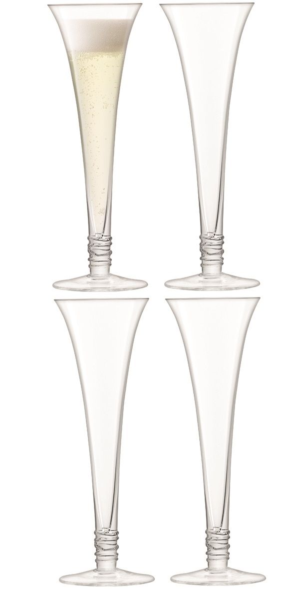 LSA Prosecco Flutes - Clear 140ml (Set of 4)