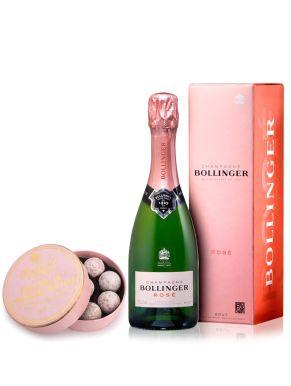 Bollinger Rosé NV Champagne 37.5cl & Pink Truffles 135g