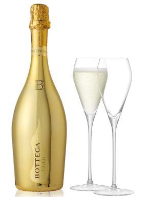 Bottega GOLD Prosecco Brut & 2 LSA Prosecco Glasses