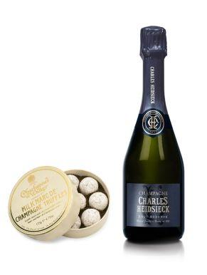 Charles Heidsieck Brut Champagne 37.5cl & Milk Truffles 135g