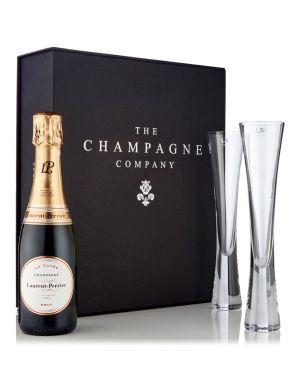 Laurent Perrier Brut Half & LSA Moya Flutes Luxury Gift Box