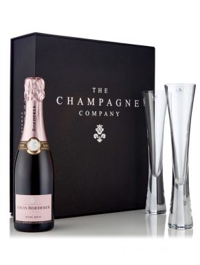 Louis Roederer Rosé Half & LSA Moya Flutes Luxury Gift Box
