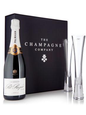 Pol Roger Champagne 75cl & LSA Moya Flutes Luxury Gift Box