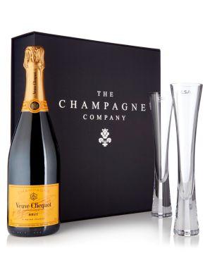 Veuve Clicquot Champagne 75cl & LSA Moya Flutes Luxury Gift Box