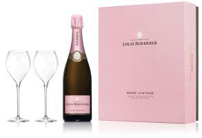 Louis Roederer Rosé 2011 Vintage Champagne 2 Flute Gift Set 75cl