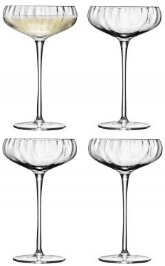 LSA Aurelia Champagne Saucers - Clear Optic 300ml (Set of 4)