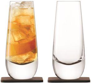 LSA Whisky Islay Tumblers & Walnut Coasters - Clear 325ml (Set of 2)
