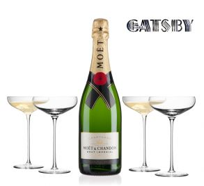 Moet & Chandon Brut Imperial 75cl Champagne & 4 LSA Champagne Saucers