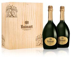 Ruinart Brut Duo 2 x 75cl Champagne Wooden Box