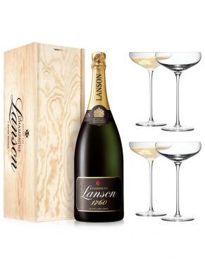 Lanson Black Label Champagne Magnum 150cl & 4 LSA Champagne Saucers