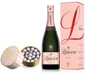 Lanson Rose Label Champagne NV 75cl & Pink Truffles 650g