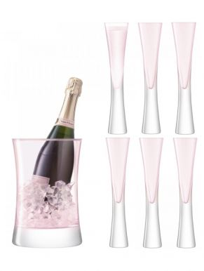 LSA Moya Blush Champagne Serving Set - Ice Bucket & Flutes (Set of 6)