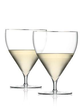LSA Savoy Water/Wine Glasses - 460ml x 2 Gold Rim