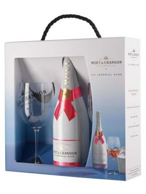 Moet & Chandon Ice Imperial Rose NV Champagne 75cl & 2 Glasses Set