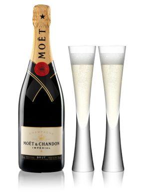 Moet & Chandon Champagne Gift Box 75cl & 2 Moya Champagne Flutes
