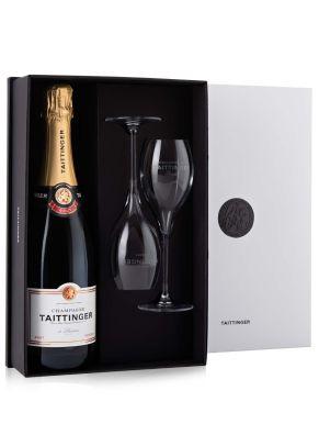 Taittinger Brut Reserve Champagne & 2 Flutes Paradox Gift Set 75cl