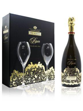 Rare Brut Vintage 2002 Champagne 75cl 2 x Flute Set