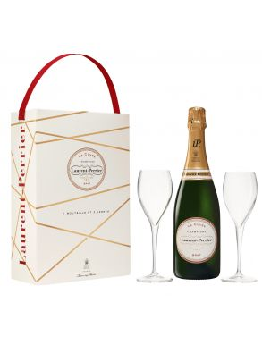Laurent Perrier La Cuvee Champagne NV 75cl & 2 Branded Flutes Gift Box