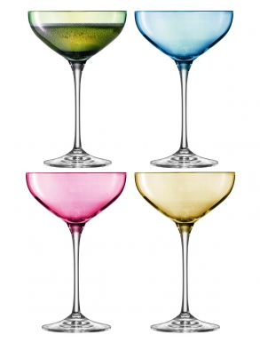 LSA Polka Champagne Saucers - Pastel 390ml (Assorted Set of 4)