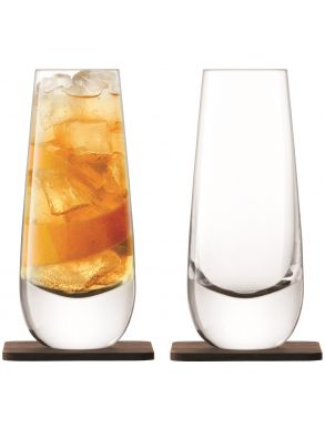 LSA Whisky Islay Tumblers & Walnut Coasters - Clear 325ml (Set of 2)