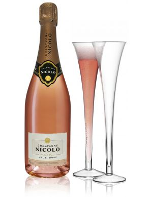 Nicolo Brut Rose Champagne 75cl & 2 Grand Hollow Flutes