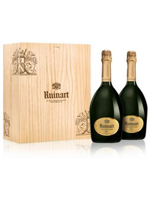 Ruinart Brut Duo 2 x 75cl Champagne Wooden Box