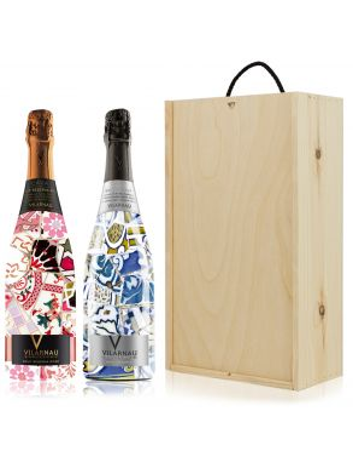 Vilarnau Brut & Rose Reserva Cava Gaudi Sleeve Wine Gift Set Duo 75cl