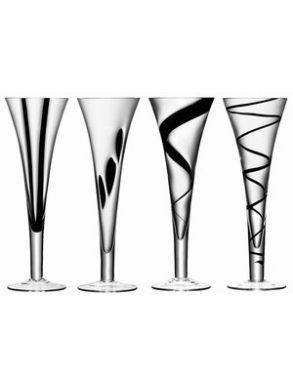 LSA Jazz Black Champagne flutes - 250ml (Set of 4) Gift Box
