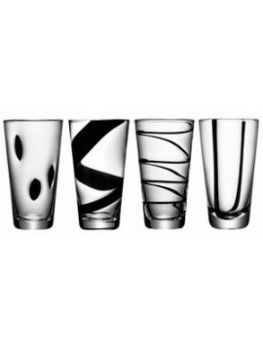 LSA Jazz Black Highball Glasses 480ml (Set of 4)
