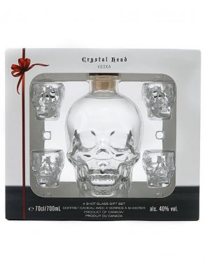 Crystal Head Vodka 70cl Skull and Shot Glass Gift Box