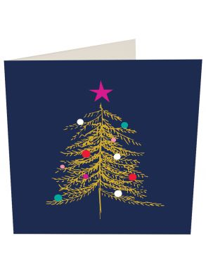 Gold Tree On Navy Christmas  5 x Gift Card Pack