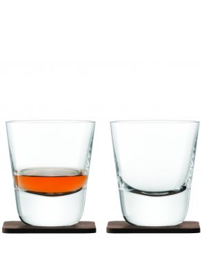 LSA Whiskey Arran Tumblers & Walnut Coasters Clear 250ml (Set of two)