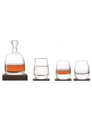 LSA Whisky Islay Walnut Decanter & Glasses Set - Clear 1L