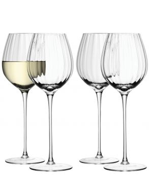 LSA Aurelia White Wine Glasses - Clear Optic 430ml (Set of 4)