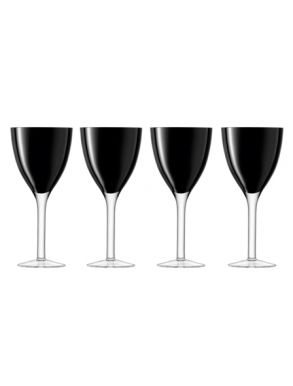 LSA Milo Wine Glass - Black (Set of 4) Gift Box