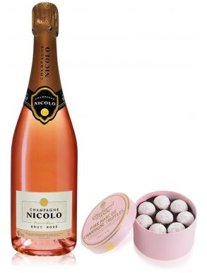Nicolo Brut Rose Champagne 75cl & Pink Truffles 275g