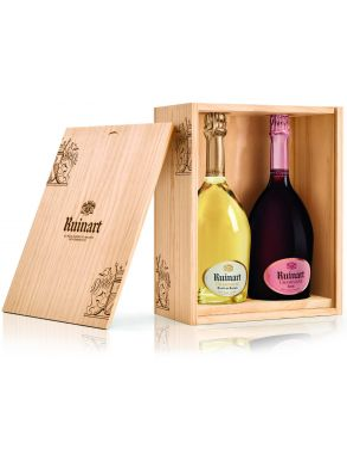 Ruinart Rosé & Blanc de Blanc duo 2 x 75cl Champagne Wooden Box