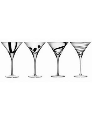 LSA Jazz Black Cocktail Glasses - 320ml (set of 4)