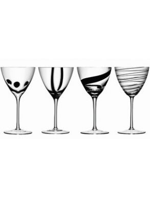 LSA Jazz Black Wine Goblet Glasses - 420ml (set of 4)