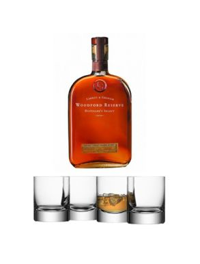 Woodford Reserve Whiskey 70cl & LSA Bar Tumbler Glasses (Set of 4)