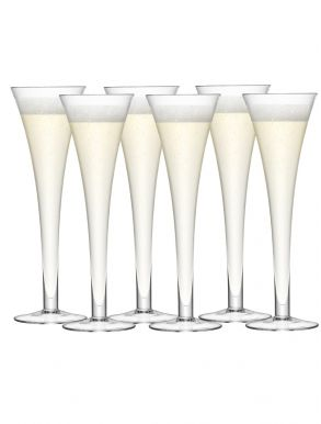 LSA Bar Hollow Stem Champagne Flutes - Clear 200ml (Set of 6)