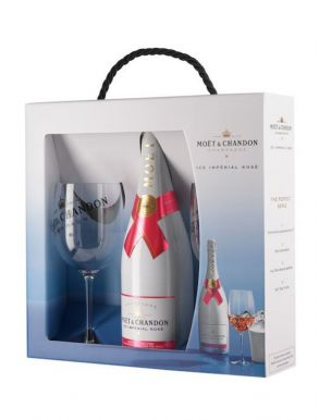 Moet & Chandon Ice Imperial Rose Champagne NV 75cl & 2 Glasses Set