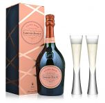 Laurent Perrier Rose Champagne NV 75cl & 2 LSA Moya Flutes