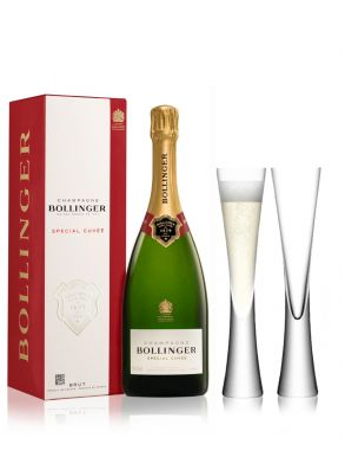 Bollinger Champagne Brut NV 75cl & 2 Moya Champagne Flutes