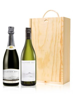 Cloudy Bay Wine Gift - New Zealand - 2 Bottles & Wood Gift Box