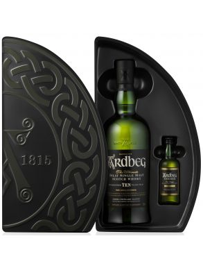 Ardbeg 10 year old Single Malt 70cl & Uigeadail Whisky 5cl Gift Set