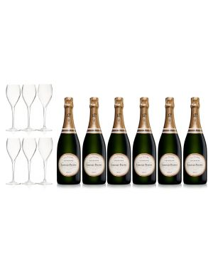 Laurent Perrier La Cuvee NV Champagne Case Deal 6x75cl & 6 LP Glasses