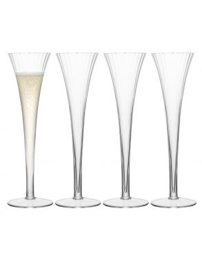 LSA Aurelia Champagne Flutes - Clear Optic 200ml (Set of 4)