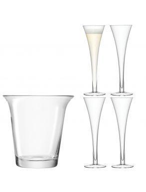 LSA Bar Champagne Set - Ice Bucket 24cm & 4 Flutes 200ml