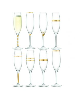 LSA Deco Champagne Flutes - Gold 225ml (Set of 8)